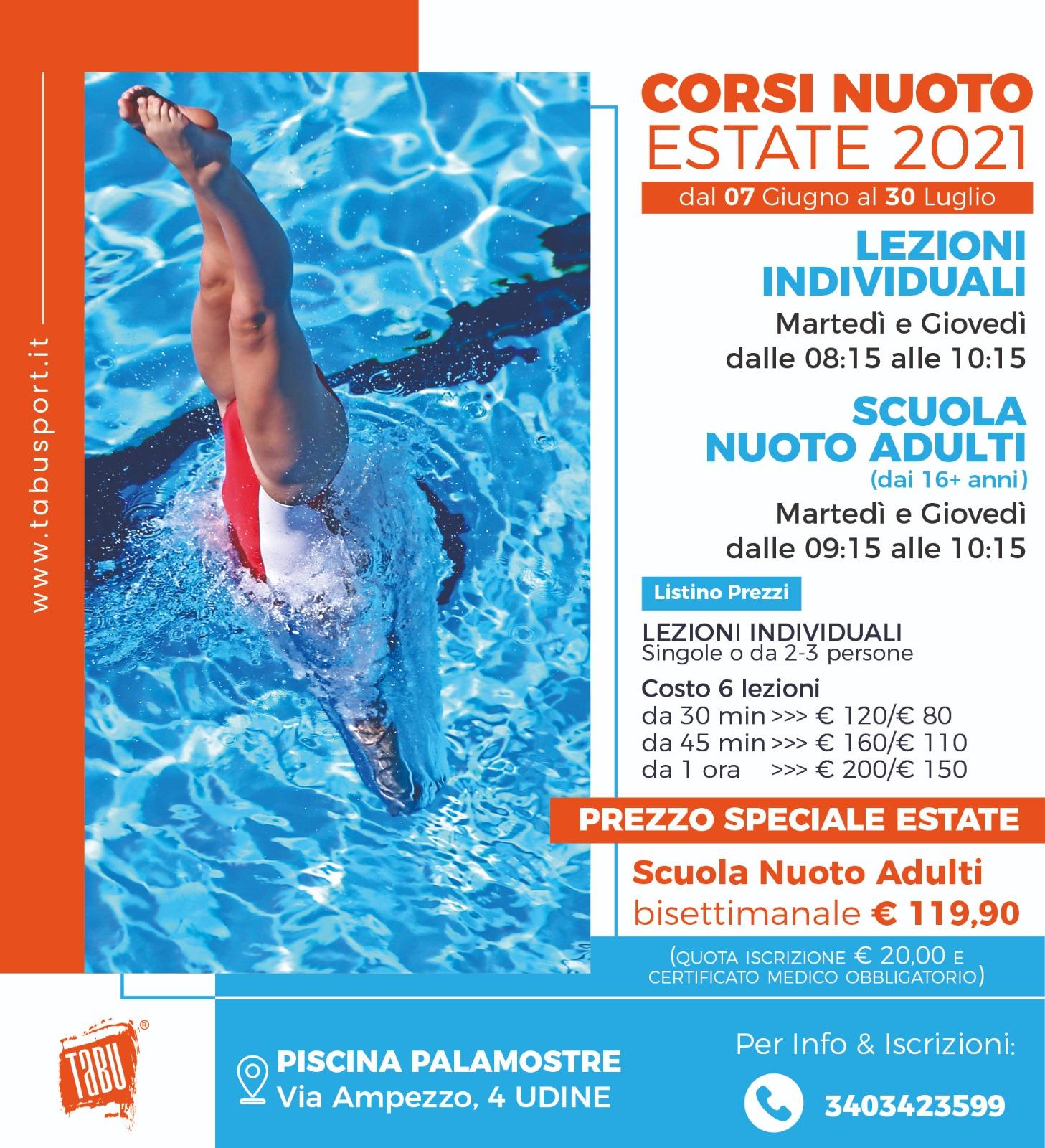 Corsi nuoto a Udine estate 2021