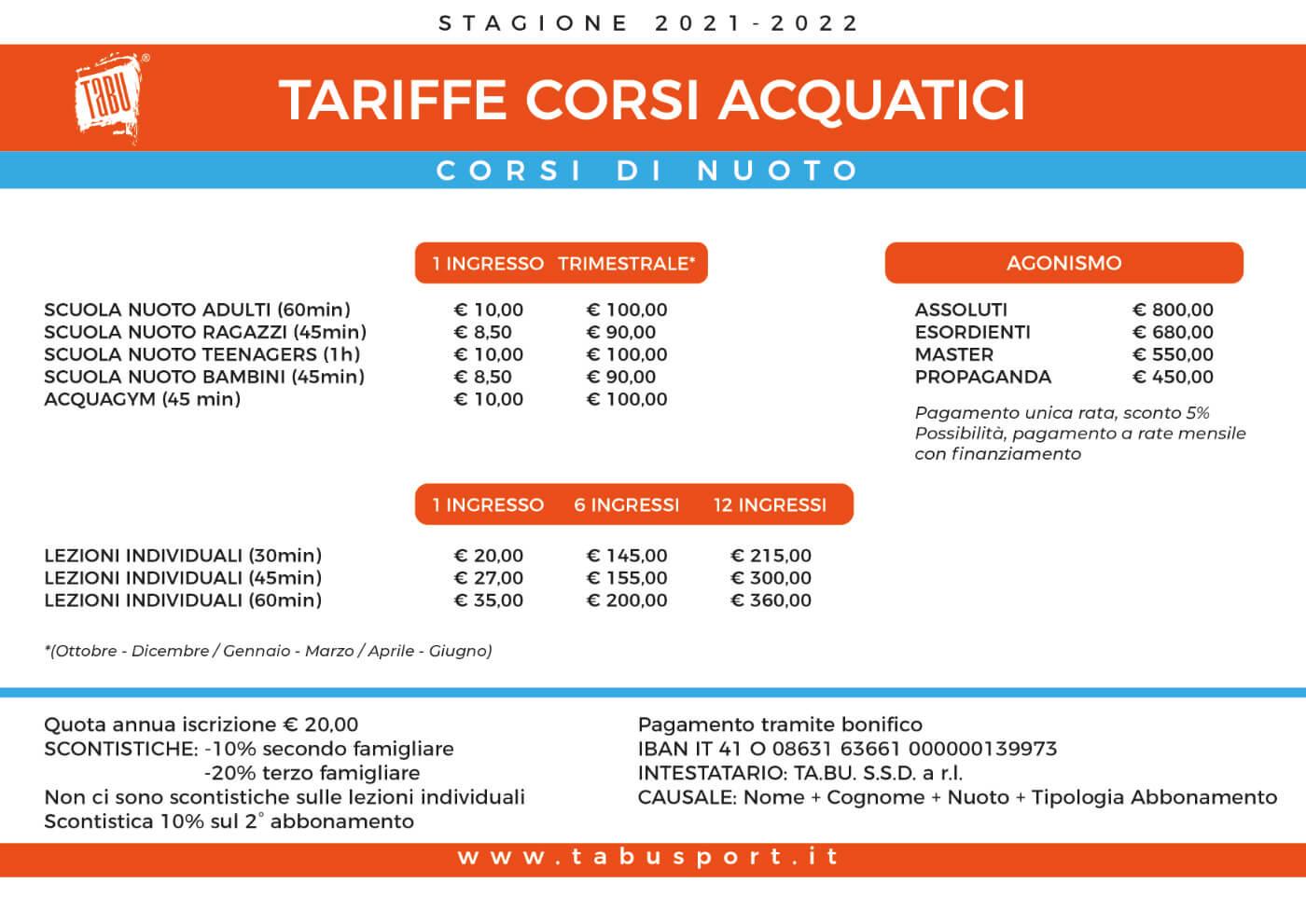 Tariffe corsi acquatici TABU 2021-2022