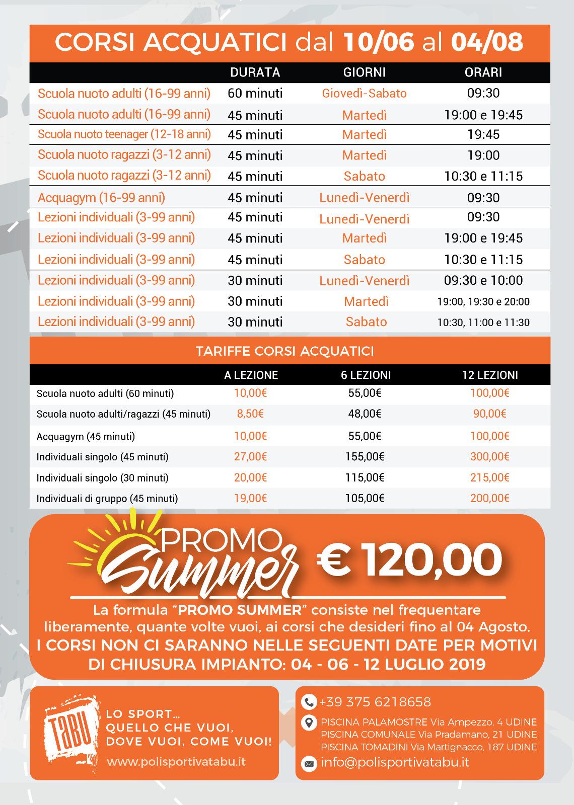 Corsi acquatici estate 2019 a Udine Palamostre