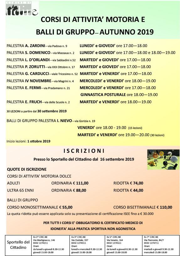 Corsi attività motorie e balli di gruppo Comune di Udine