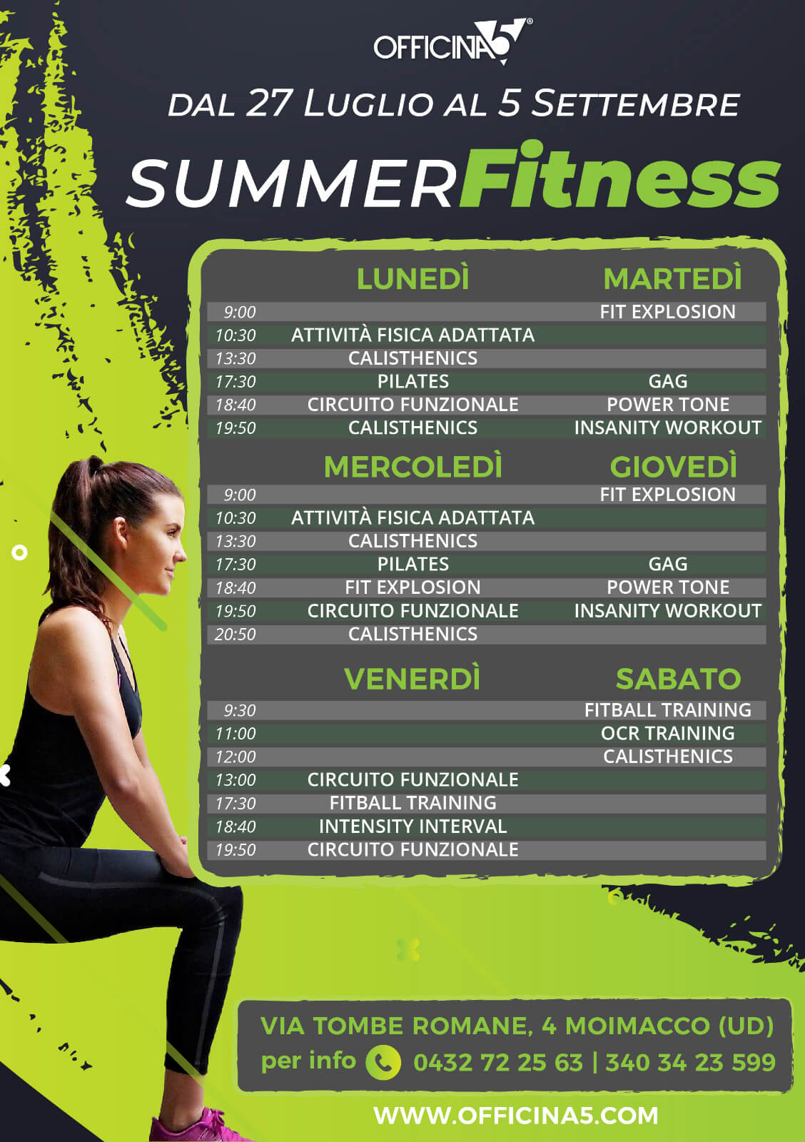 Summer Fitness con OFFICINA5, la plaestra di Moimacco